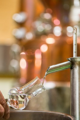 Abb. eines halb gefüllten Degustierglases unterhalb einer Alkoholvorlage mit Spindel.