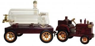 Abb. eines Holzmodells eines Traktors; auf dem Hänger ein befüllbarer Glaszylinder.